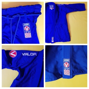 collage of the valor judo gi details