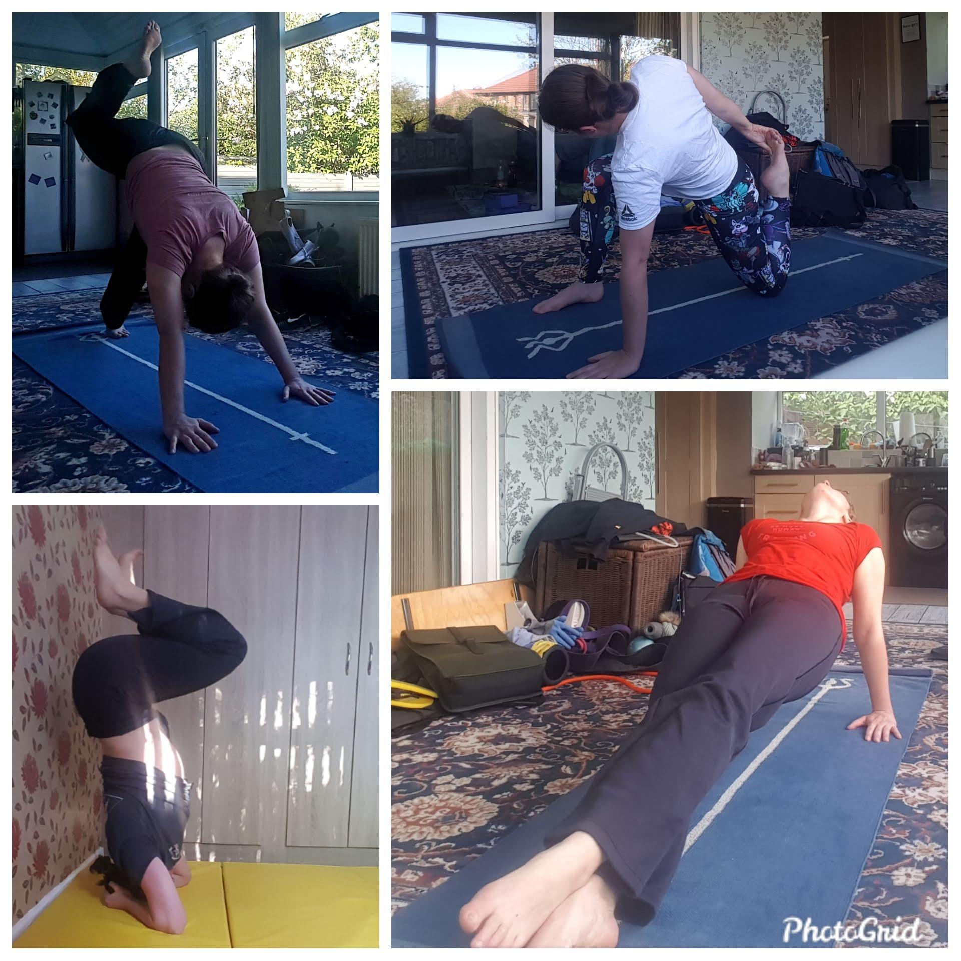 BJJ Minion attempting various yoga poses
