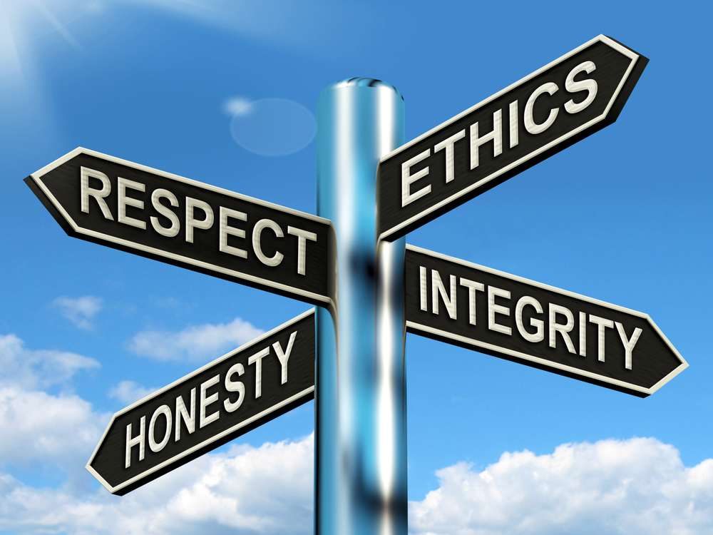 Code of Conduct Signpost - Respect Ethics Honest Integrity